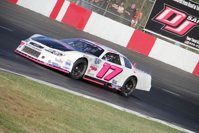 Kercie Jung racing in the 51Fifty Jr. Late Model Series (Photo by Halie Sullivan)