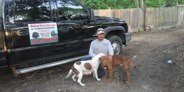 Man kneeling touching brown male dog and white female dog. Black truck sign says Aldine Tree Service