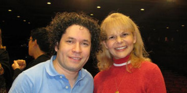Los Angeles Philharmonic conductor Gustavo Dudamel and Karen S Davis at 2012 Mahler production