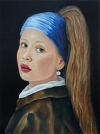 portrait, vermeer remakes, My Girl With A Pearl,colored pencil on hardboard