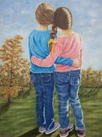 Sisterly Bond, Sisters, Girls, braided hair, figure  art, colored pencil art