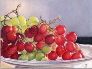 Backlit Grapes, 8 X 10 Colored Pencil on Ampersand board