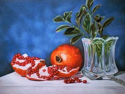 Still Life, pomegranate, colored pencil art