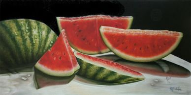 Watermelon, still life, colored pencil art