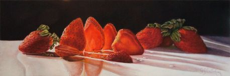 Backlit Strawberries, Colored Pencil on Ampersand Pastelboard