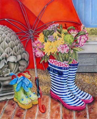 """Welcome Wellies"" 20 X 16, Colored Pencil on Ampersand Pastelboard, Still Life  with Red Umbrella."