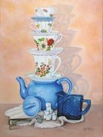 Still Life, Teapots, Teacups, colored pencil art