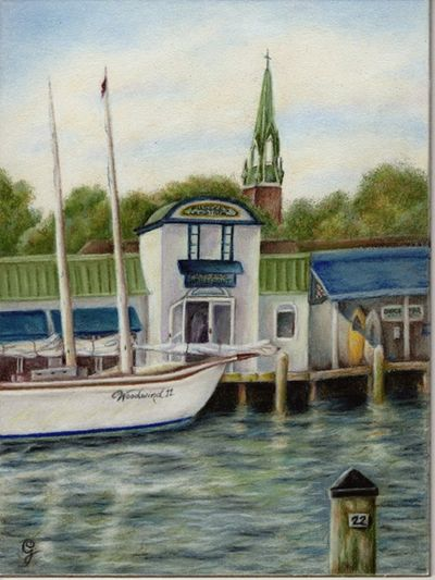 Pier 22, Annapolis MD,, Plein Air Colored Pencil, plein air painting