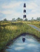 Bodie Island Lighthouse, Landscape, water views, colored pencil art