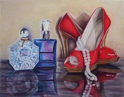 Still Life, Red Shoes, Perfume, Pearls, Dressing room art