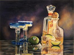 Still Life, Tequila, bar art, margaritas, colored pencil  art
