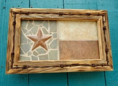 Natural Texas mosaic flag with barbed wire.