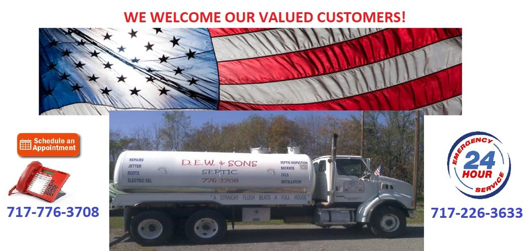 D.E.W. & Sons Septic Sewer Tank Cleaning, Pumping, Repairs, 24 Hour Emergency Service