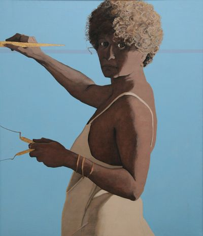 Self Portrait, Oil and gold leaf on canvas, 44 × 38 in., 1979