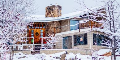 Main house in the winter at Sage View ranch. Lodging, rv, tent camp, event, weddings
