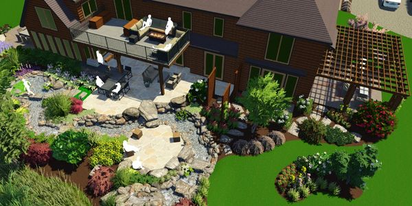 Landscape Design 3D Rendering of a back yard with stream garden and lawn