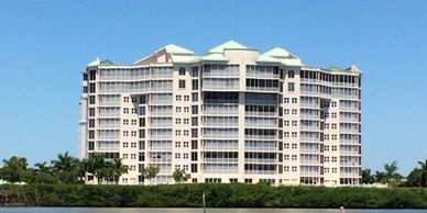 One of Ft. Myers Beach,  premiere addresses is  Dolphin Pointe condominiums at Waterside Community.