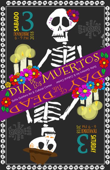 Day of the Dead image promoting the annual Dia de Los Muertos Celebration fundrasier.