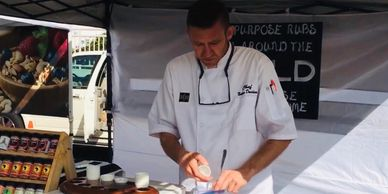 Chef Nathan Davidson at the farmers market