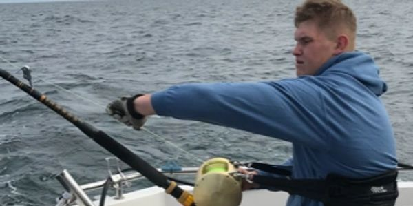 Jack hodge onboard seawatch Falmouth charter fishing trips, Cornwall commercial survey and media