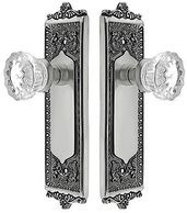 Tall estate backplates scrollwork brushed nickel antique brass french door crystal clear glass knobs