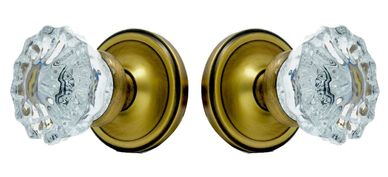 Classic rosette with vintage fluted solid glass knobs: passage or privacy in 5 fine finishes.