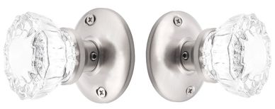 Vintage style crystal clear doorknobs for interior rooms home or office. Brushed Nickel