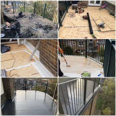 Woking Roofer, New GRP Roof Terrace in with 10-year Insurance Backed Guarantee New Roof Terrace