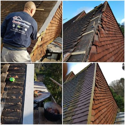 Woking Roofer, Woking Roof Repairs,  Take down and rebuild a gable end with a  5 year guarantee GU21