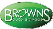 Green logo for Brown's Auto Supply with recycling symbol as the O