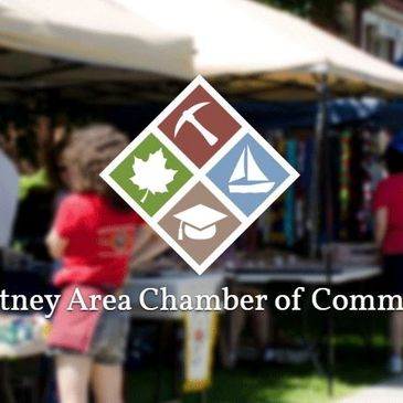 Poultney Area Chamber logo over a farmer's market image