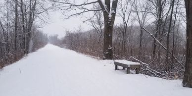Snow covers the D&H Rail Trail and park bench.