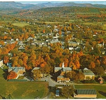 aerial image of the town of Poultney in Fall