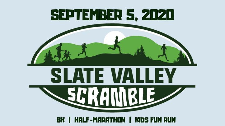 Logo for Slate Valley Scramble trail run with mountains, runners of all ages and date, race distance