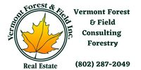 Vermont Forest & Field Consulting Forestry logo with maple leaf. (802) 287-2049