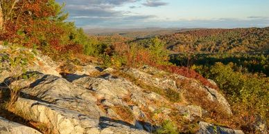 A fall vista from a rocky outcropping.
