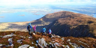 Shehy Mountain in Killarney National Park with Lough Leane and Killarney town on the background