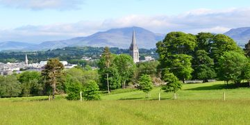 St Mary's Cathedral from Killarney National Park with The Mangerton Mountains in the background