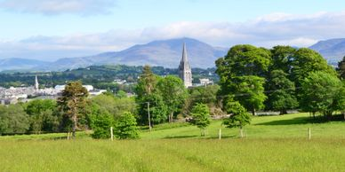 St Mary's Cathedral from Killarney National Park with The Mangerton Mountain in the background