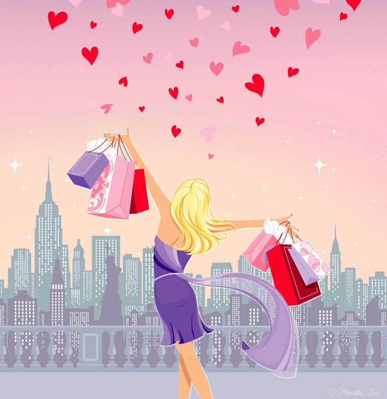 blonde with shopping bags new york city skyline illustration hearts new york valentine monika roe il