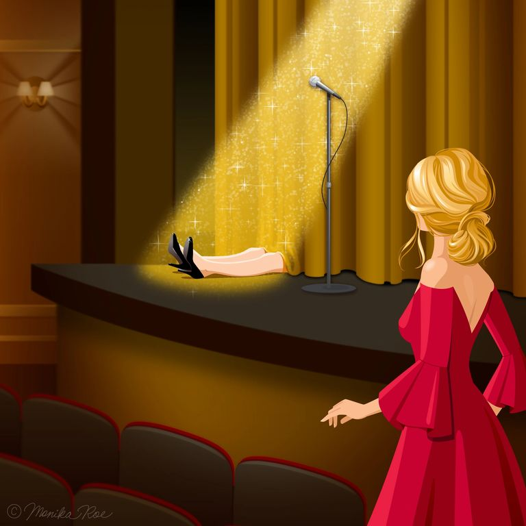 Coached in the Act Victoria Laurie Blonde woman in red dress looking at murder victim on stage
