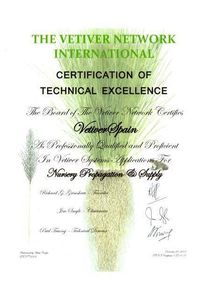 Certificate of Technical Excellence from The vetiver Network International