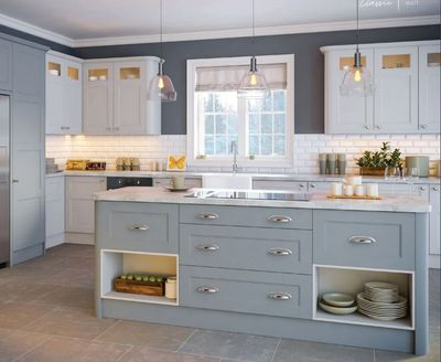 Blue denim and dove grey replacement kitchen doors