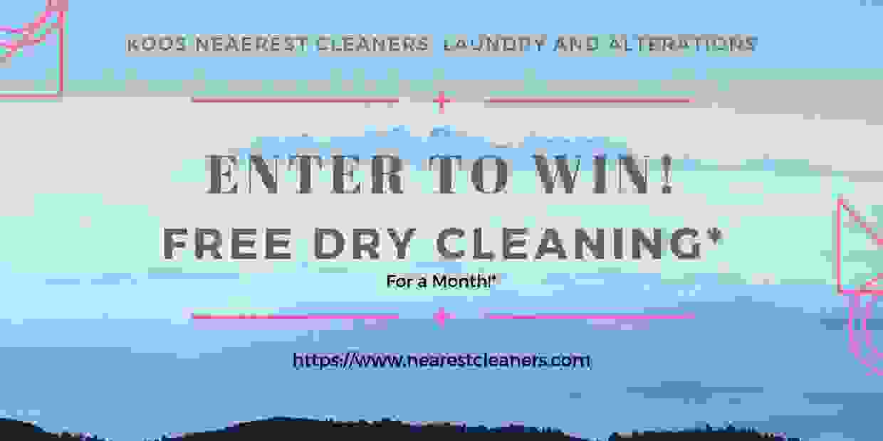 "Enter to win ""Free Dry Cleaning"" for a month!"