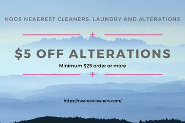 Koos Nearest Cleaners, Laundry and Altertaions Coupons. Laundry Coupons. Laundry in Los Angeles.