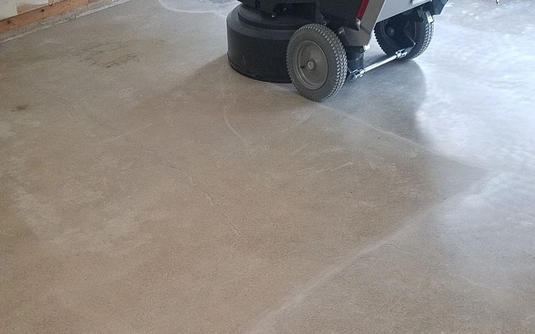 Third pass with a planetary grinder on the way to a great looking polished concrete floor