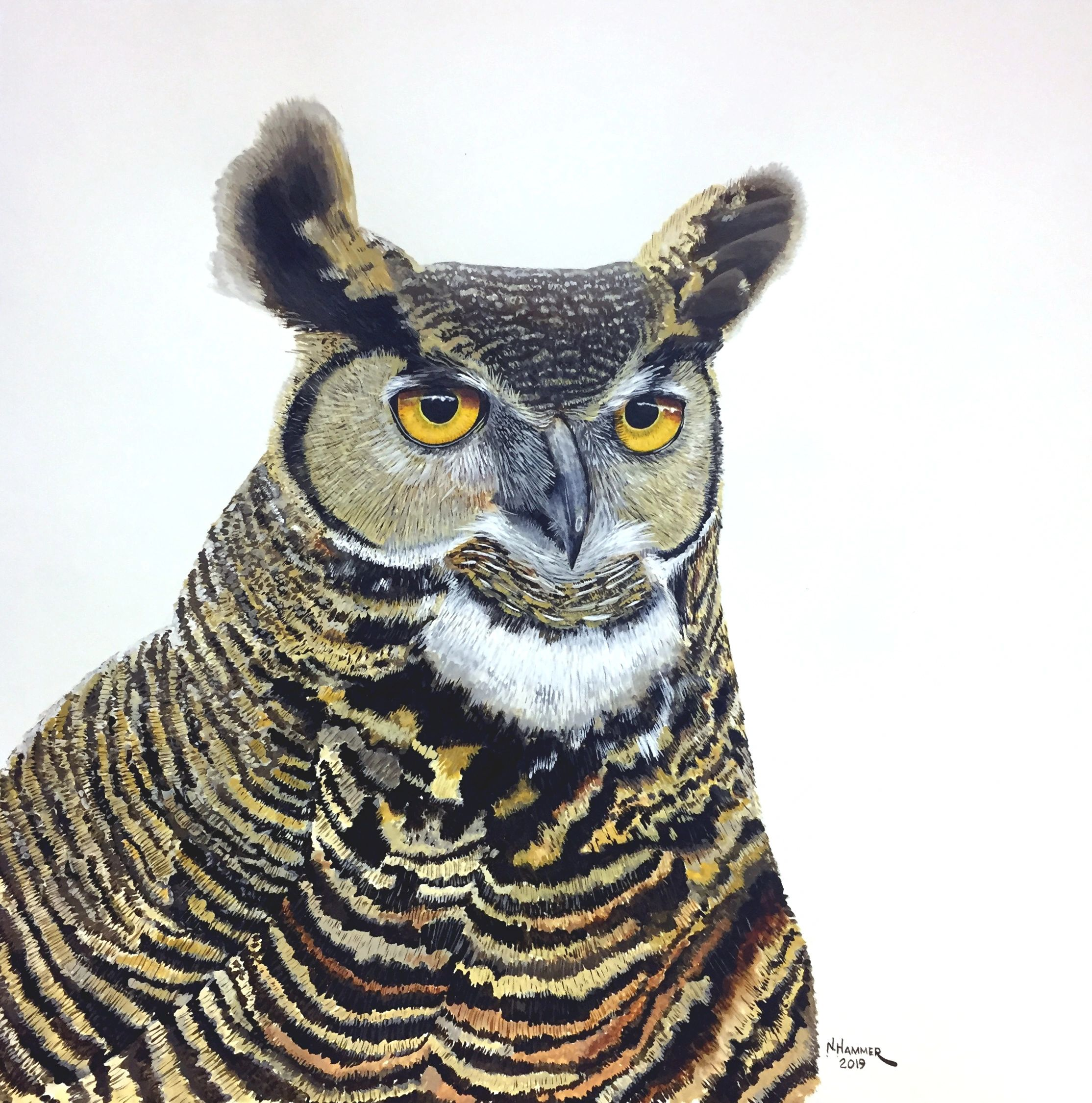 My fourth Great Horned Owl watercolor. Love those big, hooded eyes!