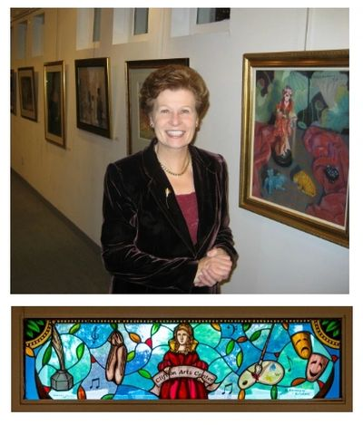 Gloria Kolodziej pictured in the Arts Center, and the stained glass window created in her memory.