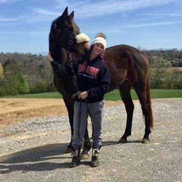 Shannon O'Hatnick with her newly purchased filly, Mo Nighean Donn