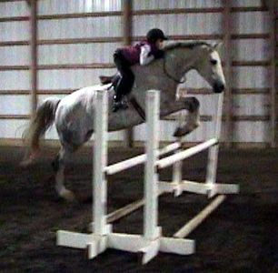 Girl on a grey horse jumping a fence without a bridle